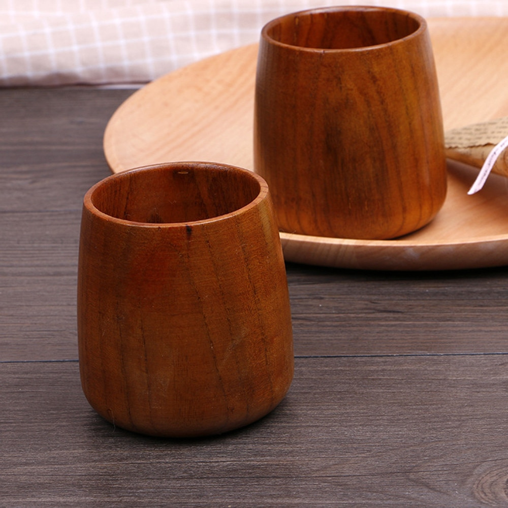 2pc Copo Primitivo Nauture Caneca Vaso Artesanal de Madeira Natural de Madeira De Madeira de Café Canecas de Chá de Leite Suco de Cerveja Caneca Tombo taza Posillo