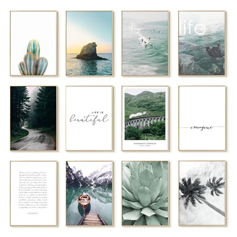 Maison jardin décoration plante verte Cactus cocotier bateau lettre paysage nordique peinture Core Wall Art salon affiche
