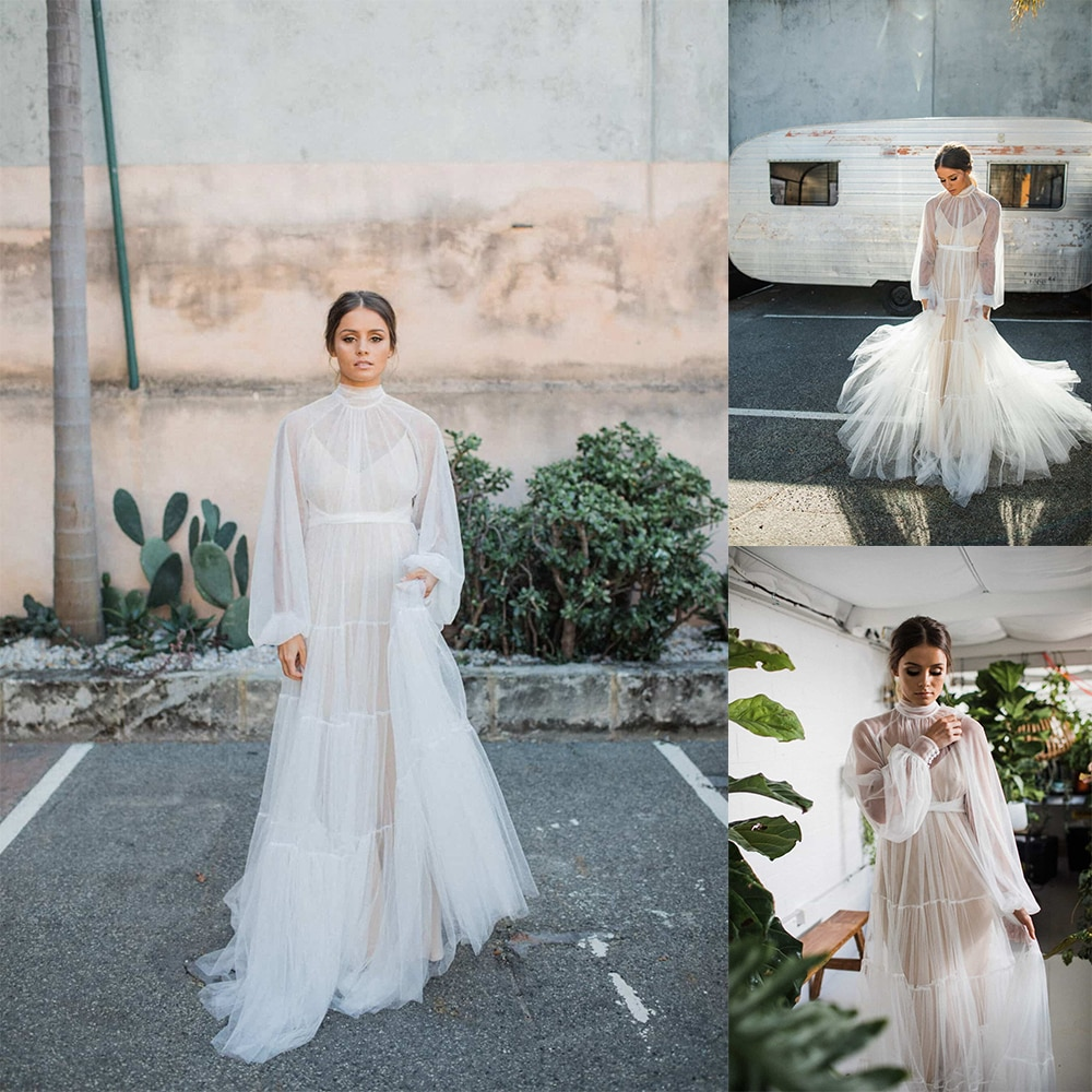 Tuell الأبيض الزفاف ملابس خاصة طويلة الأكمام مستودع رائع طول الكلمة تخصيص فستان ثوب مسائي