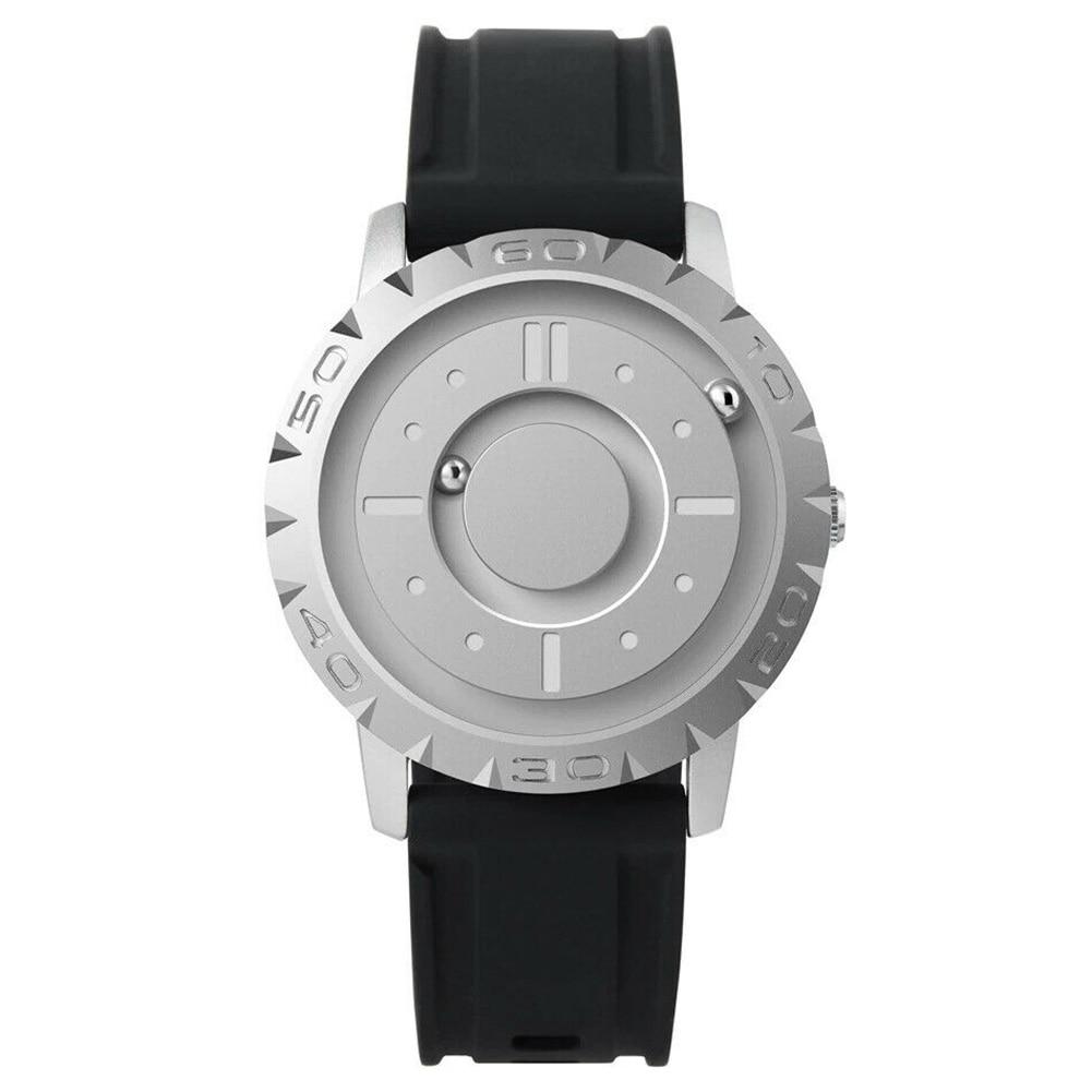 Casual Unique Minimal Magnetic Pointer Quartz Watch Wrist Watches Round Dial Resin Strap LXH