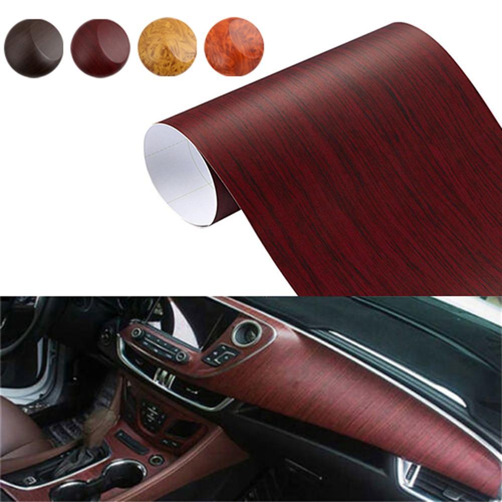 30*100 см ПВХ текстурированная древесина автомобильные интерьерные наклейки Водонепроницаемая виниловая пленка наклейки автостайлинг