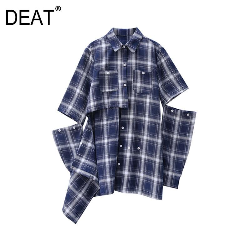 DEAT 2020 primavera nueva llegada de moda a cuadros cuello vuelto bolsillos de un solo pecho hueco Casual mujer camisa señora KB965