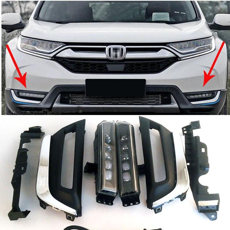 Автомобильные аксессуары передний бампер светодиодные дневные ходовые огни Светодиодные лампы для Honda CRV CR-V 2017 20118