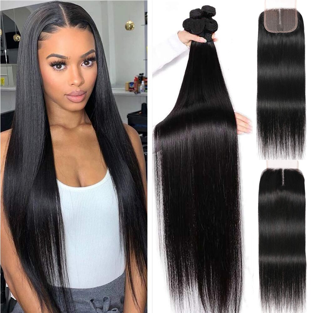 Brazillian Straight Bundles With Closure Remy Cheap Natural Black Human Hair Bundles With Closure Tissage