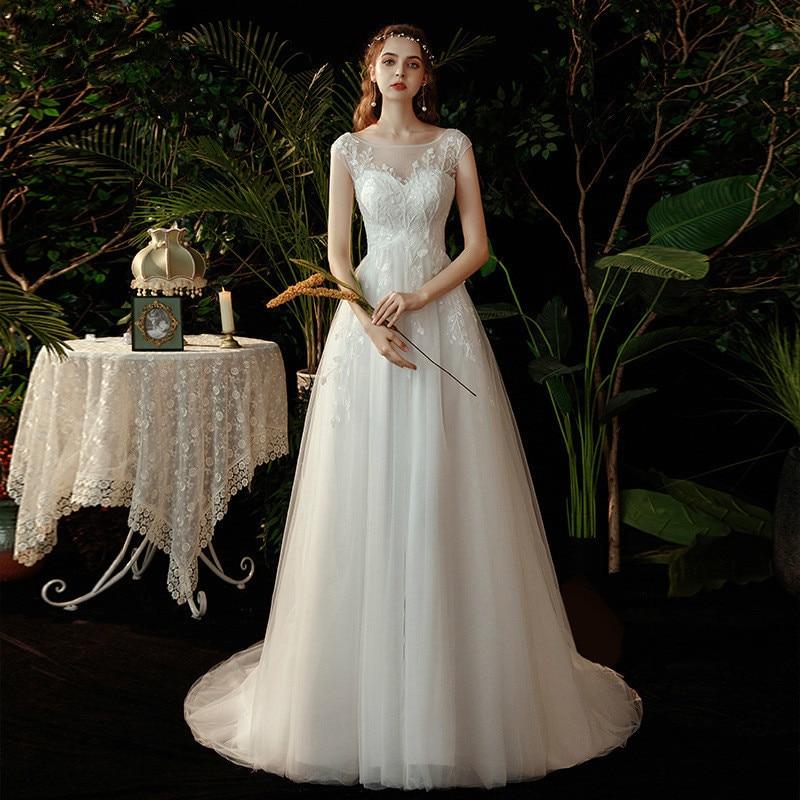 Promo 21luxury quality fashion women's one neck dress high-end lace up white wedding dress dignified temperament elegant wedding dress