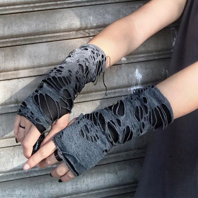 2021 Punk Trendy Black Broken Slit Design Unisex Glove Fingerless Sport Cool Women Men Half-finger Mitten Accessories