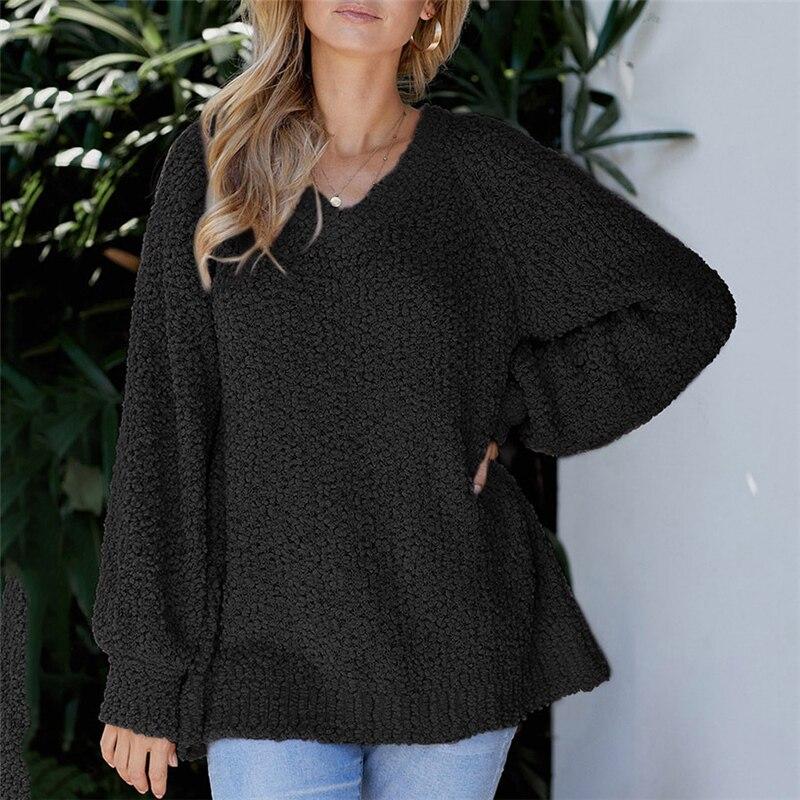 Casual cuello pico negro suéter de punto de gran tamaño suéter de otoño suelta de manga larga Harajuku mujeres suéter básico de punto señoras Tops