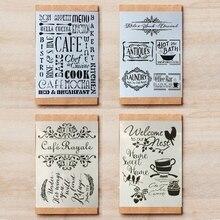4 pièces/lot A4 café café barre tasse mots bricolage superposition pochoirs peinture Scrapbook coloriage gaufrage Album décor modèle 29*21cm
