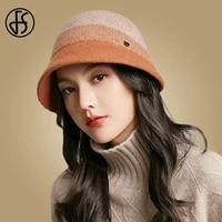 fs women winter hats wide brim wool fedora hat warm foldable fisherman bucket cap black orange camel bob chapeau femme
