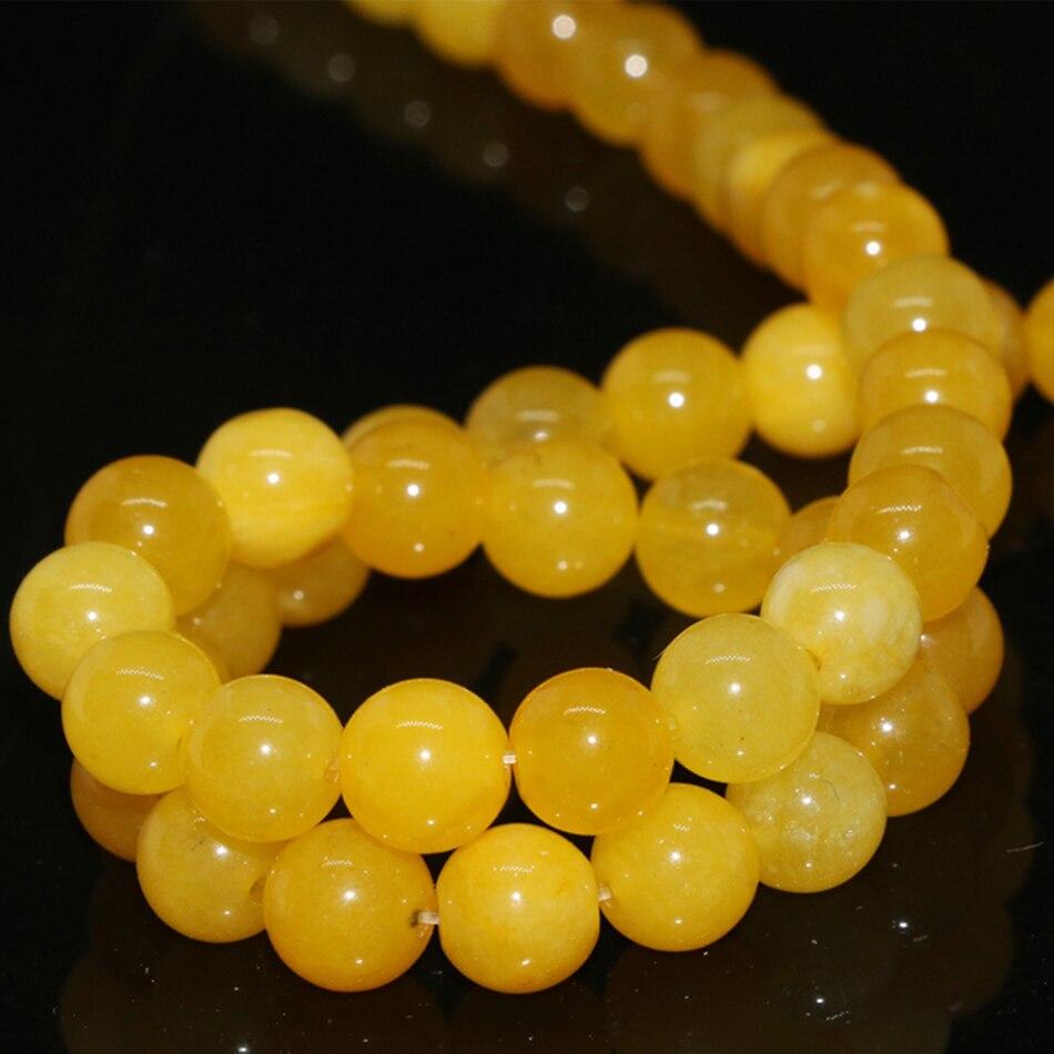 Piedra amarilla natural de alta calidad, 4mm, 6mm, 8mm, 10mm, 12mm, jade redondo, calcedonia, cuentas sueltas diy, fabricación de joyas encantadoras de 15 pulgadas G400