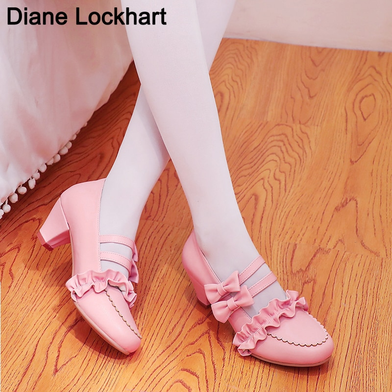 2021 Spring Ladies Lolita Heels Platform Cute Bow Lace Princess Mary Jane Shoes Summer Party High He