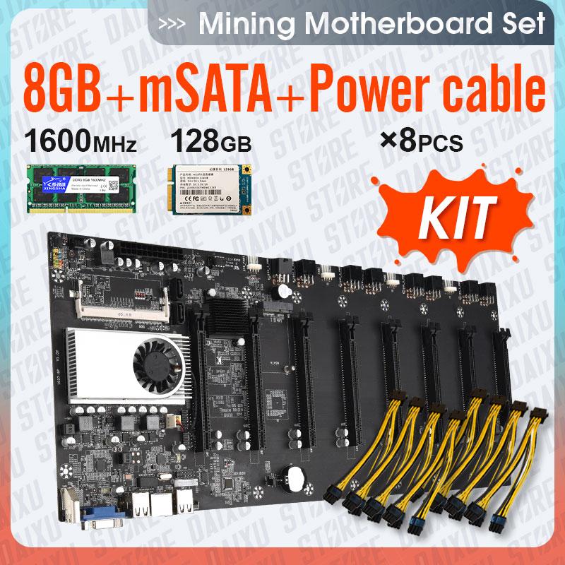 Mining motherboard 8 GPU Bitcoin Crypto Etherum Mining Set Kit Combo with 8GB DDR3 1600MHz RAM,1037U,128GB mSATA SSD,Power Cable