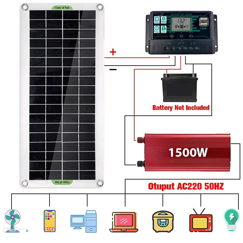 220 فولت نظام الطاقة الشمسية 30 واط لوحة طاقة شمسية 12 فولت 18 فولت شاحن بطارية 1500 واط العاكس USB عدة كاملة تحكم المنزل شبكة مخيم الهاتف