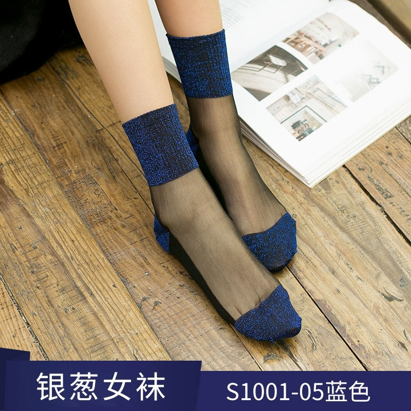 HYRAX Golden Silk Socks 5 Pairs Silver Thread Silk Mixed Fiber Stretch Elasticity Ankle Women Flower