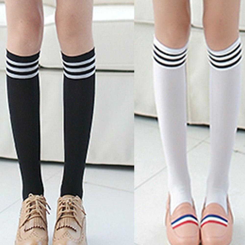 Medias largas por encima de la rodilla para mujer, Medias por encima de la rodilla, cálidas, negras y blancas, 1 par