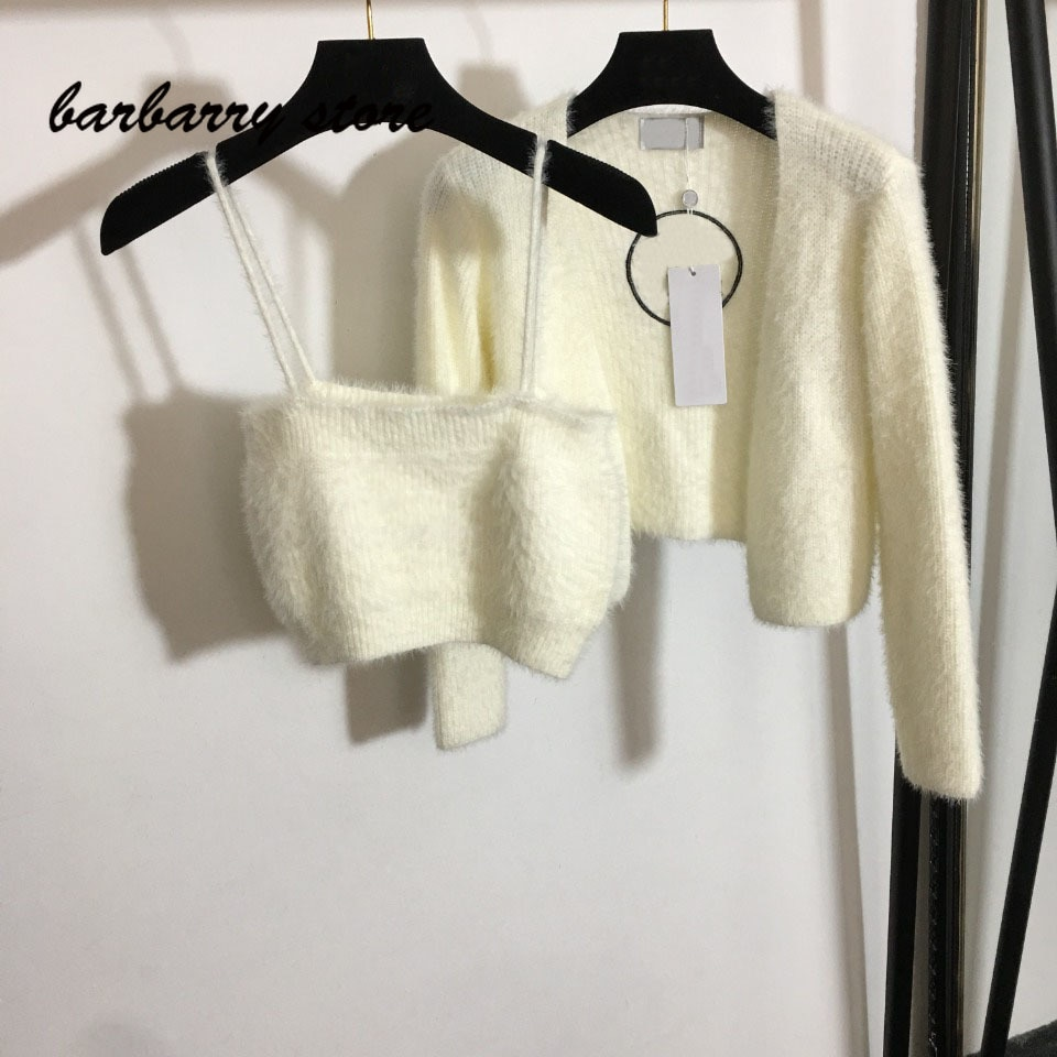 2021 luxury design embroidered letters fashion suspender Vest + wool knitted long sleeved cardigan jacket fake two-piece set enlarge