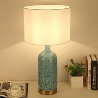 nordic modern country blue ceramic table lamp for living room study bedroom bedside lamp american retro decorative night light