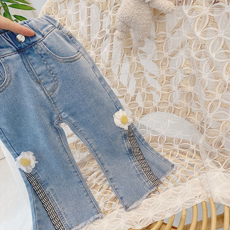 Mudkingdom Girls Sets Solid Long Sleeve Lapel Collar Lace Shirts Little Daisy Split Fork Denim Pants Kids Spring Autumn Outfits