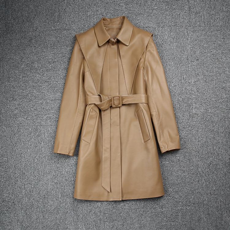 ربيع الخريف جديد مصمم المرأة عالية الجودة حزام جلد طبيعي خندق معطف حار شيك معطف جلد غير رسمي C071