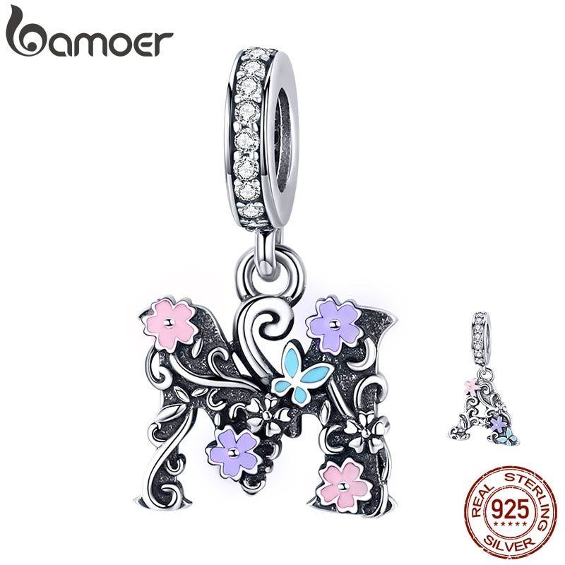 bamoer Letter A M Pendant Charm fit Original Silver Bracelet Vintage Enamel Flower Pattern 925 Sterling Silver Jewelry SCC1274