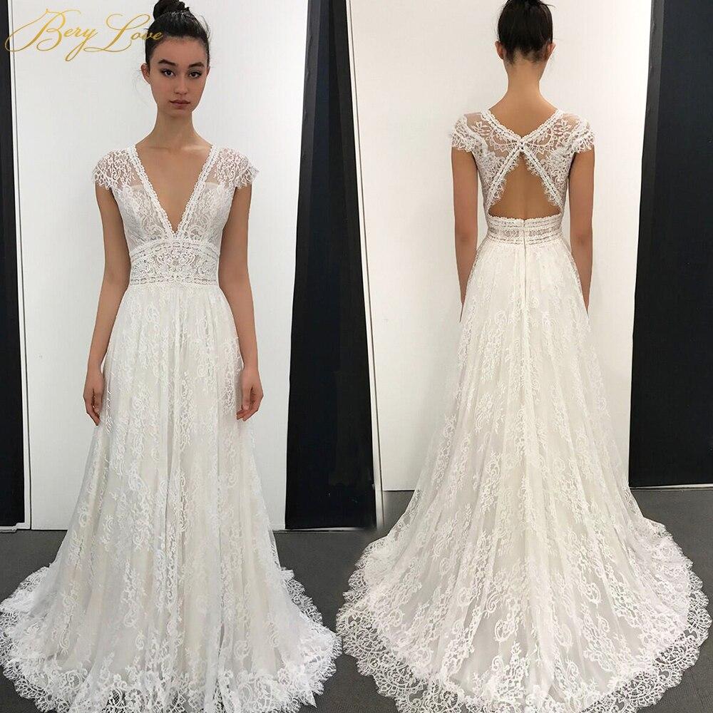 2020 Boho Lace Wedding Dresses Long A Line V Neck Cap Sleeves Bridal Gowns vestido de noiva Sexy Bride Dress Open Back