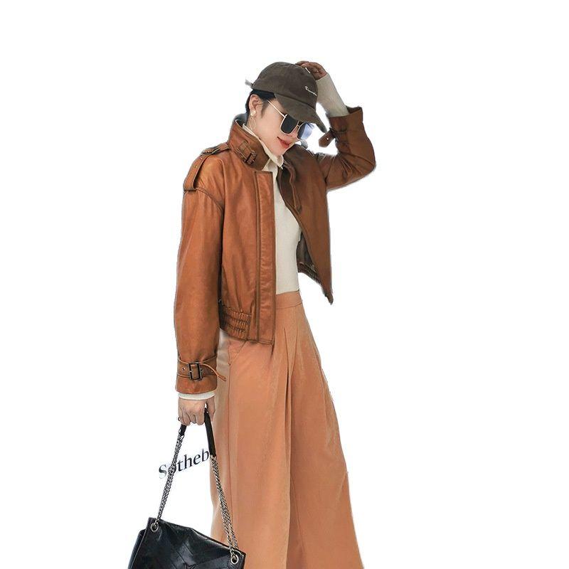 genuine leather women jacket Selling women Sheepskin jacket leather clothes for women long leather jacket  women biker jacket enlarge