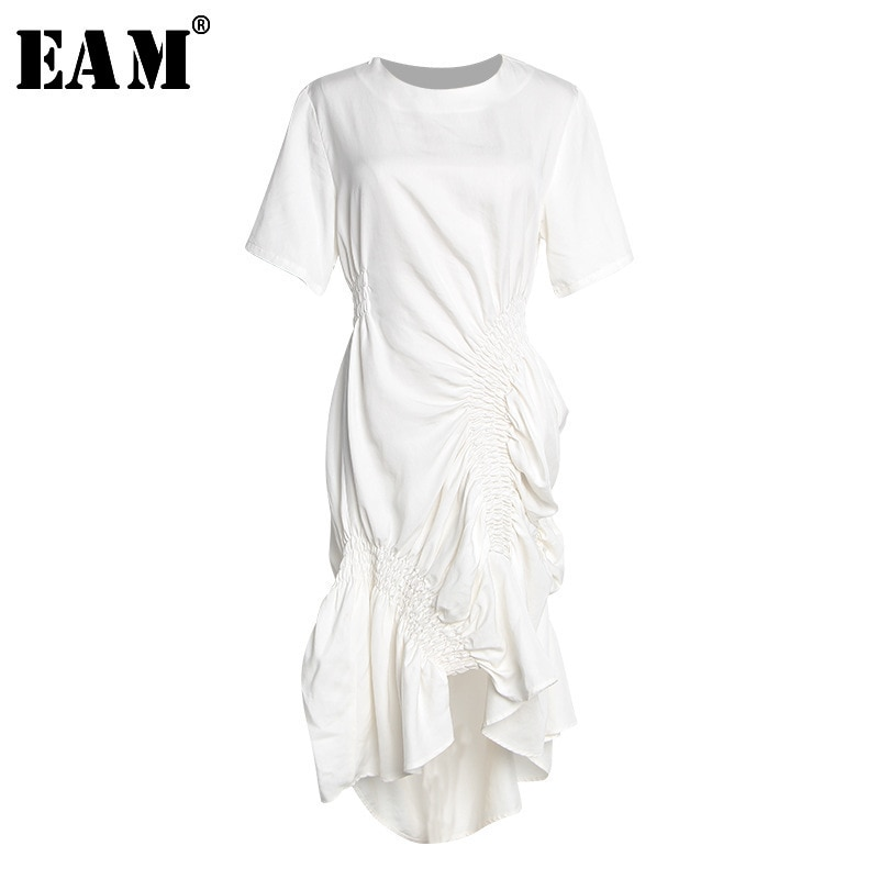 [EAM] 2020 nuevo vestido de temperamento Irregular de punto plisado blanco de manga corta con cuello redondo Primavera Verano moda femenina JT205