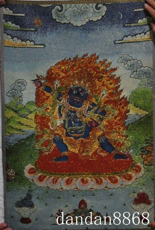 El budismo bordado de seda thangka cabeza de caballo sabiduría rey Buda...