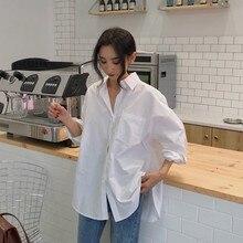 2021 camicia bianca da donna primavera autunno nuovo BF moda coreana Design Vintage sciolto manica lunga pianura elegante camicetta Top femminile