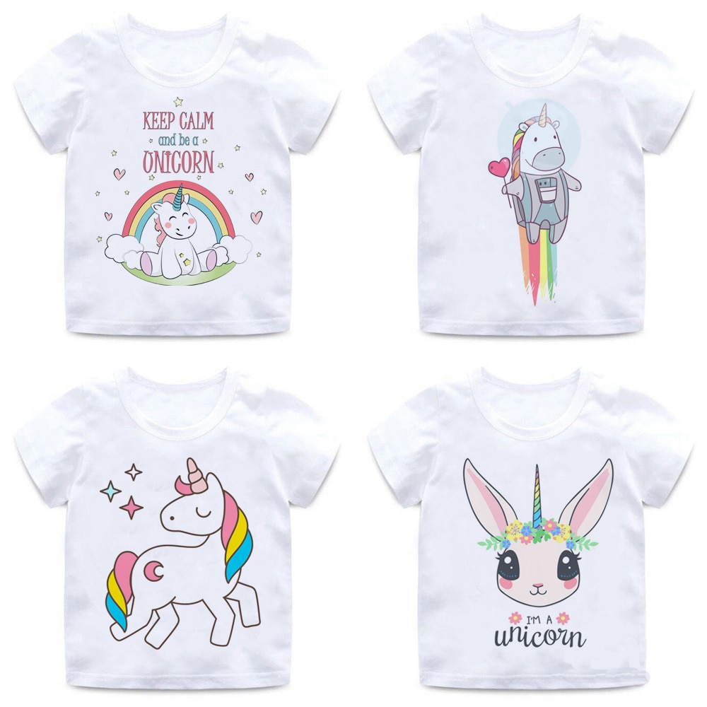 Kawaii Einhorn T Shirt Kinder Sommer Top Cartoon Kinder T-shirt Jungen/mädchen Lustige Anime Grafik Koreanische Stil Casual T-shirt kinder