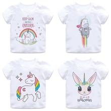 Kawaii licorne T-shirt enfants haut dété dessin animé enfants T-shirt garçons/filles drôle Anime graphique coréen Style décontracté T-shirt enfants