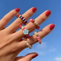 ingemark boho handmade beaded rings minimalist candy soft pottery imitation pearl acrylic rings set wedding elasticity jewelry