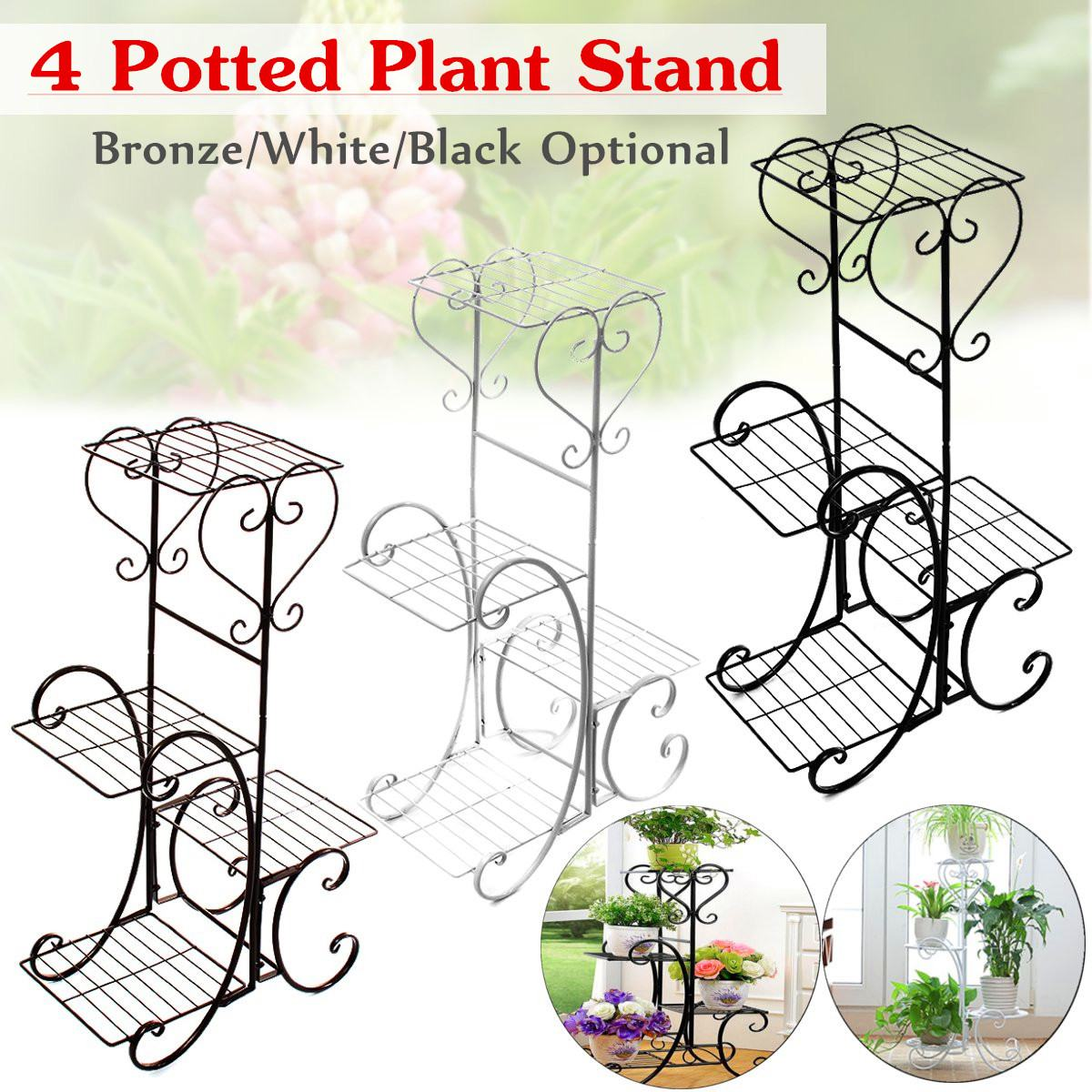 4-Tiers Iron Art Tree Design Plant Stand Holder Flower Pot Rack Garden Balcony Shelf Stand Outdoor Indoor Black White Bronze