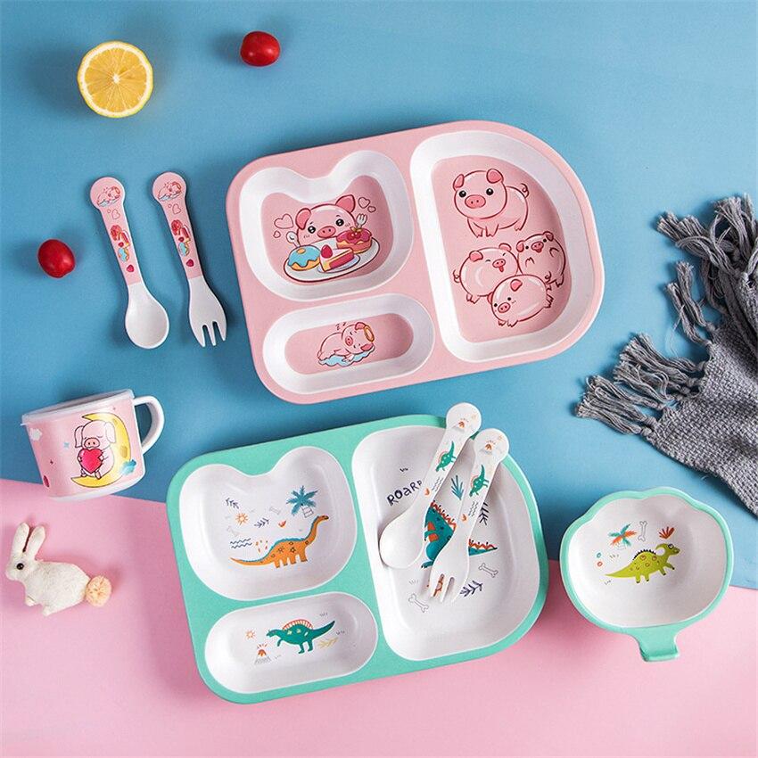 5Pcs Dinosaur Divided Children's Plate Cute Creative Household Dinnerware Baby Plate Breakfast Dinner Plate