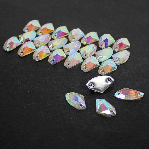 8.5x14mm,11.5x19mm Crystal AB / Clear AB Flat Back #3256 Galactic AX Sew On Stones