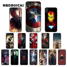 NBDRUICAI Marvel Avengers super-héros capitaine ironman thanos coque de téléphone pour iPhone 11 pro XS MAX 8 7 6 6S Plus X 5 5S SE XR étui