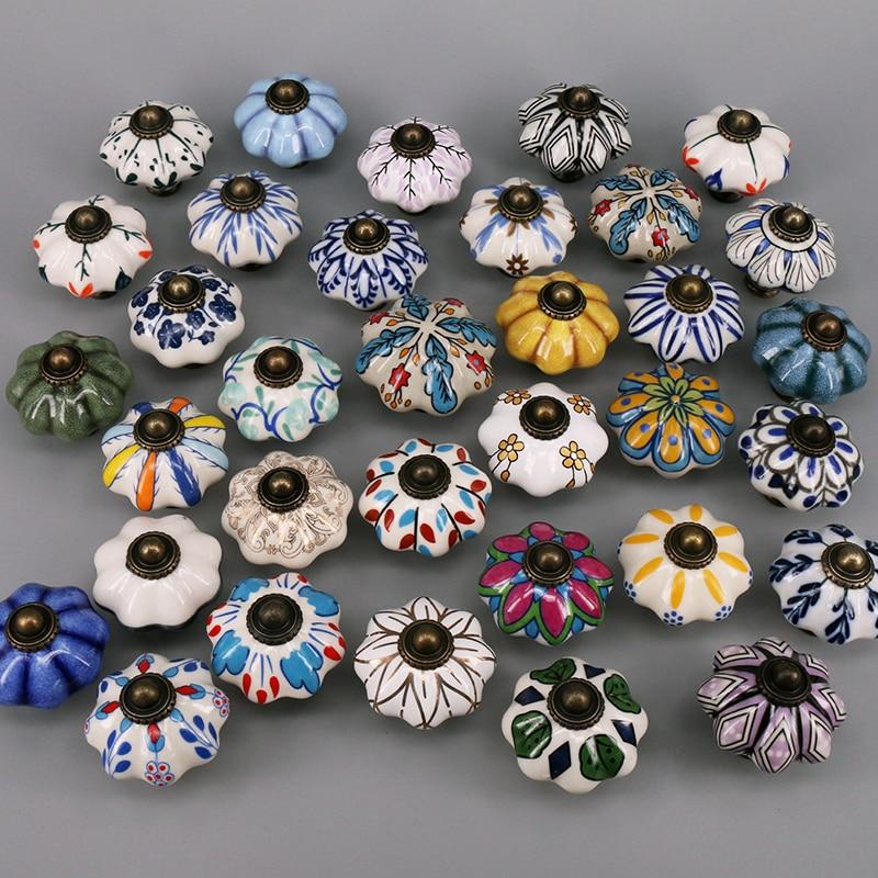 Tiradores de puerta de cerámica Vintage, para cajón de armario, armario, muebles, tirador de puerta, paquete de uno