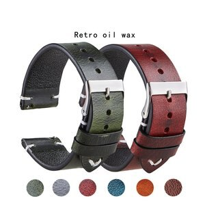 Universal Retro Watch Band 20 22mm oil wax leather Strap Genuine Leather Belt Watchbands Smart watch Accessories Quick release