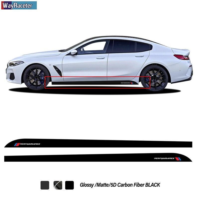 2 uds coche puerta lado rayas falda etiqueta M rendimiento cuerpo etiqueta de vinilo para BMW Serie 8 Gran Coupe G14 G15 G16 Accesorios
