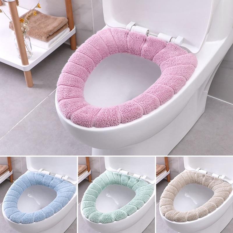 Nórdico padrão de abóbora assento do toalete capa quente grosso malha assento do toalete coxim diâmetro acessórios do banheiro