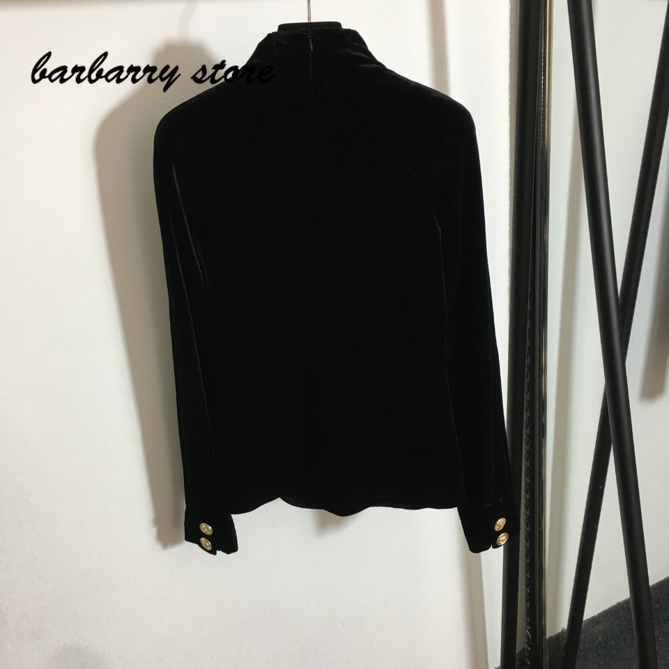 2021 luxury design hardware single breasted fashion women's long sleeved top temperament slim fitting velvet bottomed shirt enlarge