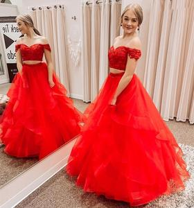 2020 prom dress two pieces red tulle formal gowns floor length  tulle cap sleeve vestido fiesta  women party gowns custom made