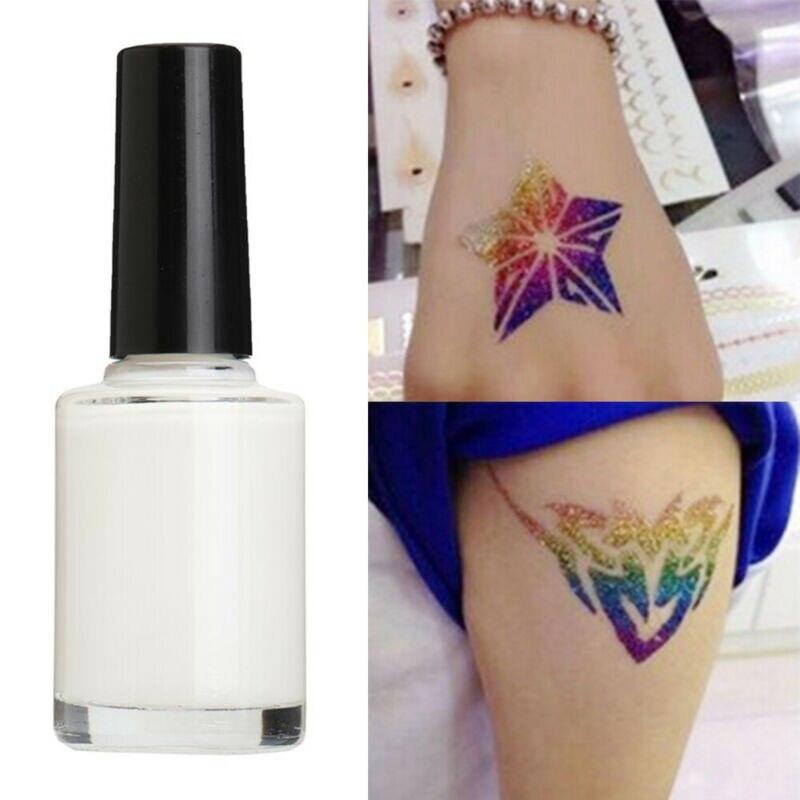 1 pc transparente descartável glitter tatuagem gel branco glitter pó tatuagem adesivo duradouro corpo arte revestimento à prova dwaterproof água