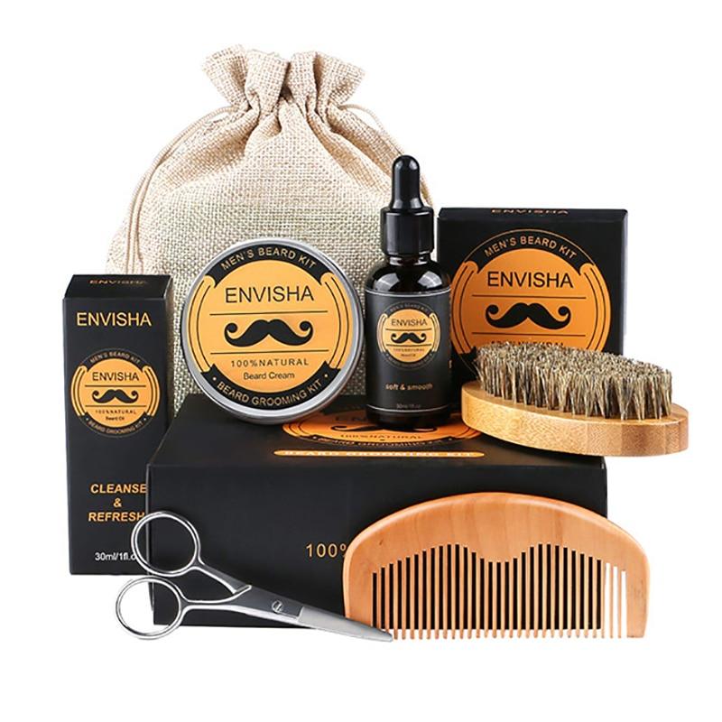 1Set Men Beard Grooming Kit Mustache Beard Hair Growth Oil Styling Tool Beard Essential Balm Comb Mo