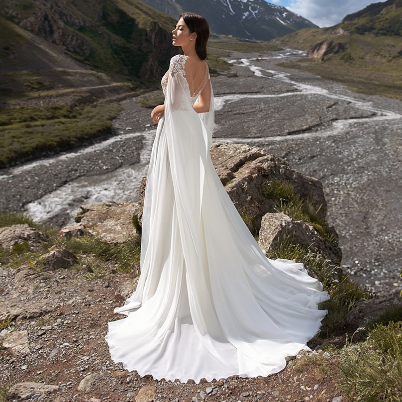Vestidos 2021Sexy Beach Wedding Dress O-Neck Chiffon High Split Bridal Gown Lace Long Sleeves Vestido De Noiva Bridal Dress