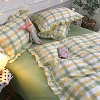four piece set on a lotus leaf bed korean style fragrant taro purple grid soft small fragrant style bed sheet three piece set