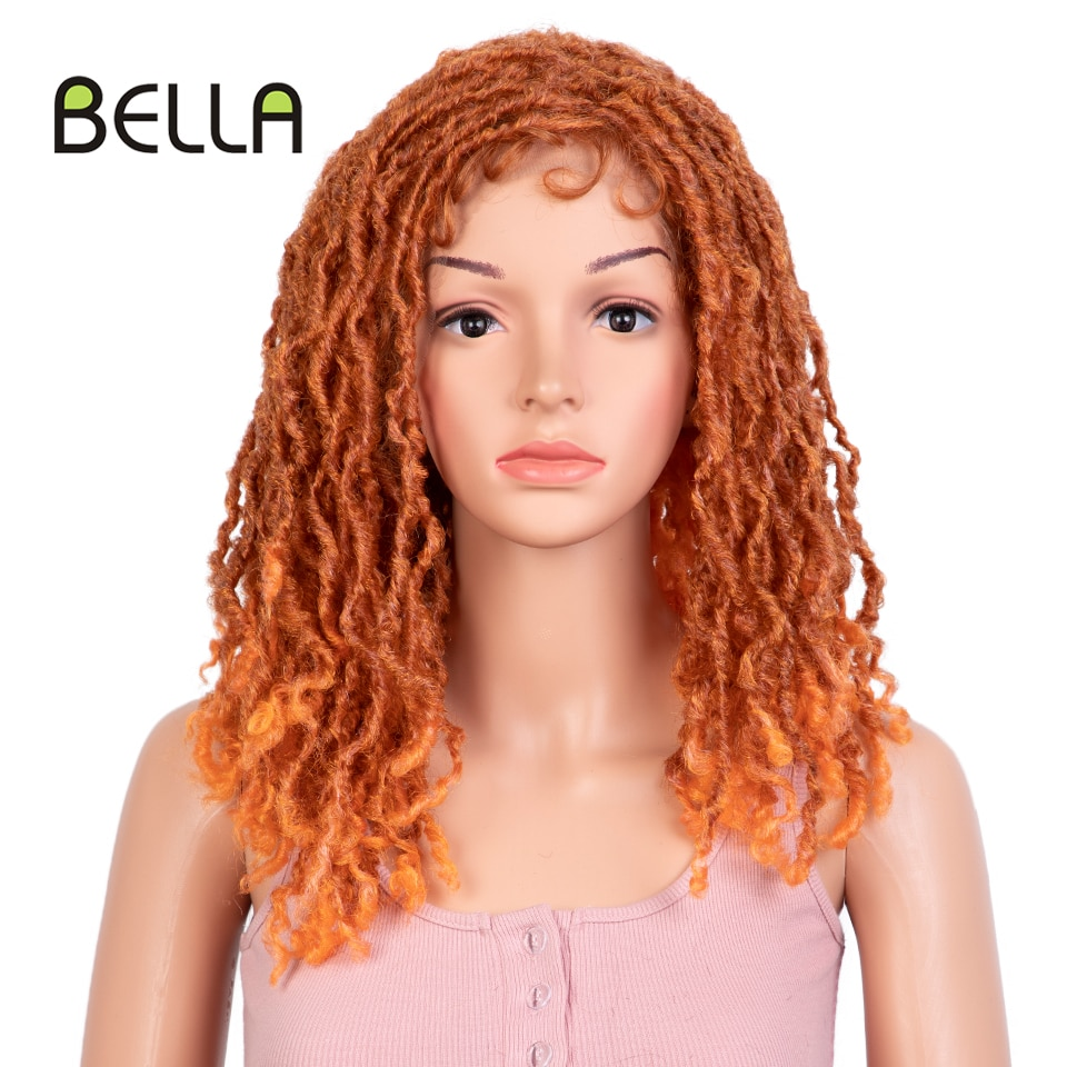 Bella Dreadlock Wig Short Braided Twist Hair Synthetic Lace Wig Orange Burgundy Red Blue Afro Curly Wig For Women Men Cosplay