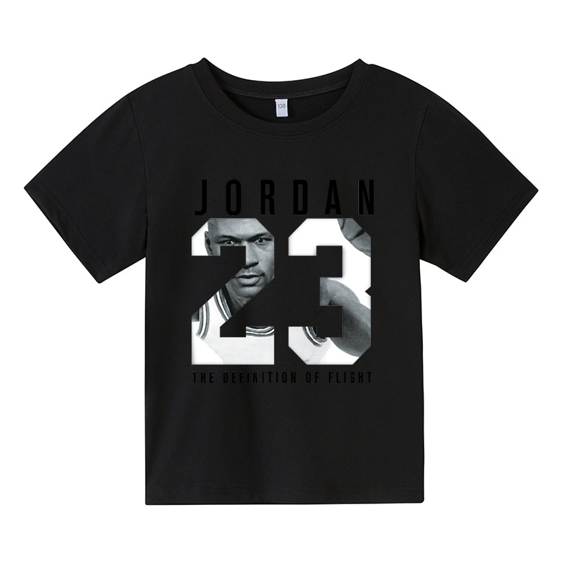 Nuevo verano chicos populares Jordan 23 100% algodón T camisas niños cuello...