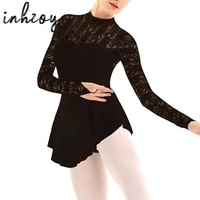 womens figure ice skating dress lace long sleeves ballet dance leotard dress
