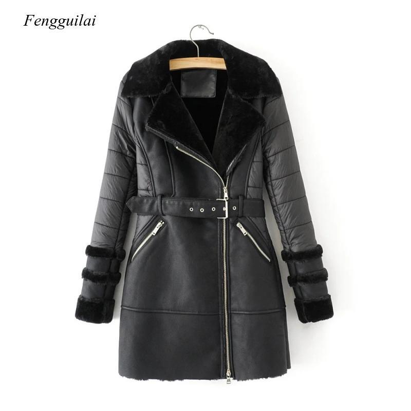 Модные женские длинные пальто из искусственной кожи 2020 зимние женские Куртки из искусственной кожи с меховым воротником винтажные женские ...